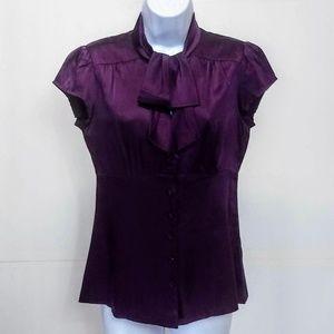 Nanette Lepore Silk Blouse Cap Slv Pleated Back 6